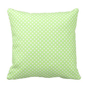 Cute Girly Trendy Green White polka dots Throw Pillow