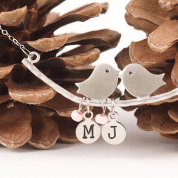 Initials Bird Necklace, Love Bird Necklace,Initial Necklace,Mothers Day Necklace,Personalize Necklace,Custom Jewelry,Matte Silver,Girlfriend