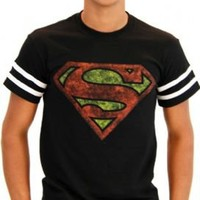 Superman Distressed Logo With Striped Sleeves Black Adult T-shirt  - Superman - | TV Store Online