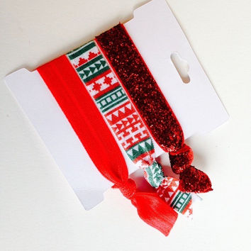 Holiday Hair Ties Set, Tugless Elastic Hair Ties in Red Glitter and Christmas Aztec Print, Stocking  Stuffers and Fun Teen Gifts