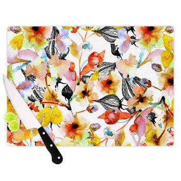 "Liz Perez ""BLOSSOMS"" Multicolor Floral Cutting Board"