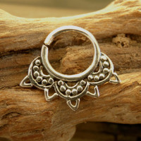 Silver Septum For Pierced Nose - Nose jewelry - Septum Jewelry - Indian Nose Ring - Ethnic Septum - Septum Piercing (Code: S28)