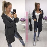 Streetstyle  Casual Grey Pockets Drawstring Long Sleeve Casual Cardigan Sweater