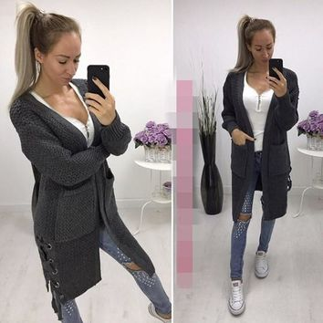 Grey Pockets Drawstring Long Sleeve Casual Cardigan Sweater