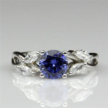 Butterfly 0.8ct Simulated Blue Sapphire 925 Sterling Silver Marquise Man Made Diamond Engagement Ring (CFR0395-SBL0.8CT)