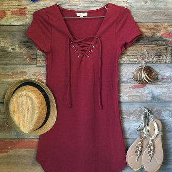 Fun in the Sun Tie Dress: Burgundy