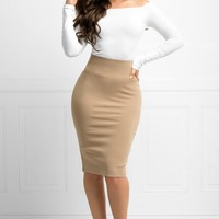 Andy Pencil Skirt Mocha