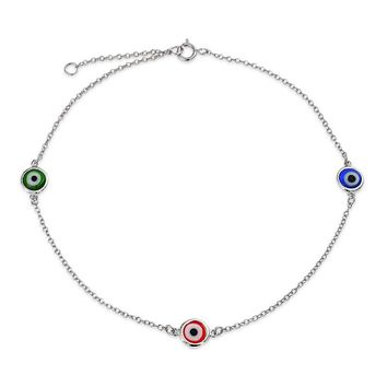 925 Sterling Silver Multi Color Evil Eye Anklet Bracelet 9in