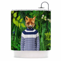 "Natt ""Into The Leaves N7"" Green Fox Shower Curtain"