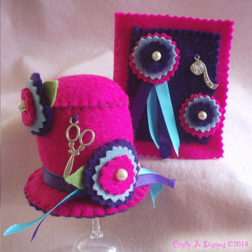 Felt Pincushion, Needle Case Gift Set, Hot Pink with Purple Flowers Hat Pin Cushion and Sewing Needle Holder