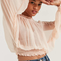 Kimchi Blue Sheer Smocked Mock-Neck Top | Urban Outfitters