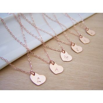Tiny Rose Gold Heart Custom Initial Necklace