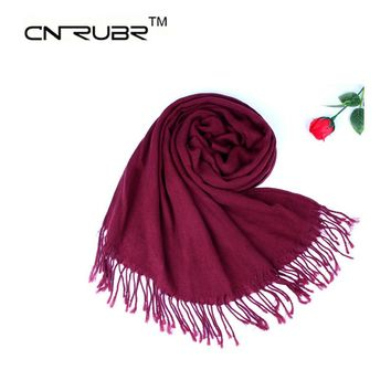 CN-RUBR Fashion 2016 Women Scarf Vintage Ladies Solid Color Black Red Scarves Warp Shawl Female High Quality Fringed Scarves