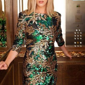 Lasting Memories Emerald Sequin Dress