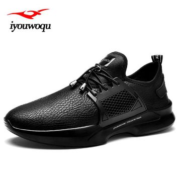 iyouwoqu Sneakers for men 2017 autumn New brand design men's leather sneakers Outdoor Sport running shoes Cool black