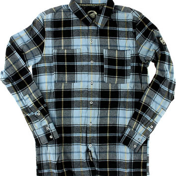 Santa Cruz Cliff Button Up Longsleeve Medium Blue Plaid