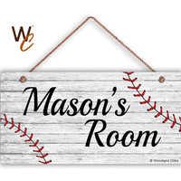 "Baseball Sign, Rustic Sports Room Sign, Personalized Sign, Kid's Name, Kids Door Sign, Baby Nursery Art, 5"" x 10"" Sign, Made To Order"