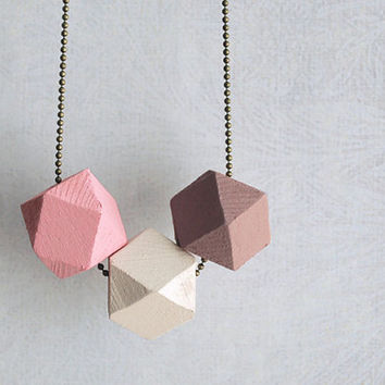 "Geometric necklace wood bead ""Rosewood "" Modern Minimal jewelry // geometric jewelry // Rosé beige brown"