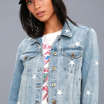 Heavenly Body Embroidered Light Wash Denim Jacket