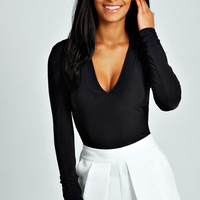 Kelsey Plunge Neck Bodycon Top