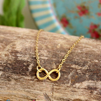 Infinity Necklace / Delicate Gold Necklace / Infinity Charm / Infinity Jewelry / Friendship Jewelry / Charm necklace / Yellow Gold Filled