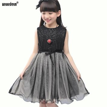 WEONEDREAM New Fashion Sequin Flower Girl Dresses Party Birthday Princess Girls Clothes Children Sleeveless Kids Girl Prom Dress