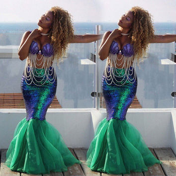 Sexy Mermaid Ladies Halloween Costume Fancy Party Sequins Long Dress Tail Skirt Mermaid