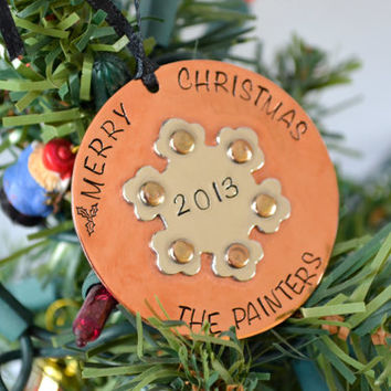 Personalized Christmas Ornament   Hand Stamped Christmas Ornament Personalized with Date