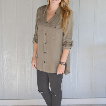 In the Know Button Up Top: Olive