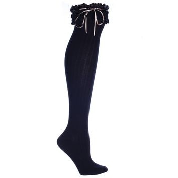 Womens Knee High Boot Sock W Lace & Tan Ribbon