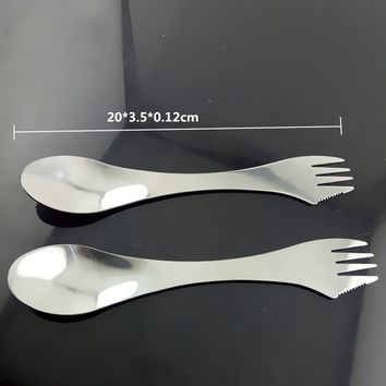 Stainless Gadget Spork Spoon Fork Cutlery Utensil 3 in 1 Combo for Picnic Breakfast Lunch Outdoor Travel Camping