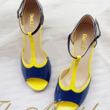 Yellow Blue T Strap Peep Toe Patent Leather Upper Heels