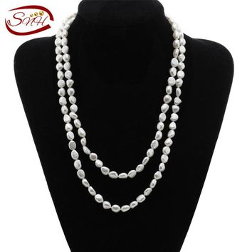 SNH 8mm baroque AA  Natural Pearl Necklace 8mm baroque 48inches Freshwater Pearl Necklace