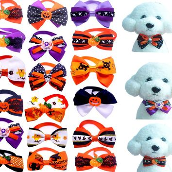New 100pc/lot Halloween Christmas Holiday Dog Bow Ties Cute Neckties Collar Pet Puppy Dog Cat Ties Accessories Grooming Supplies