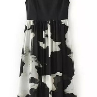 Black Ink Printed Sleeveless Dress
