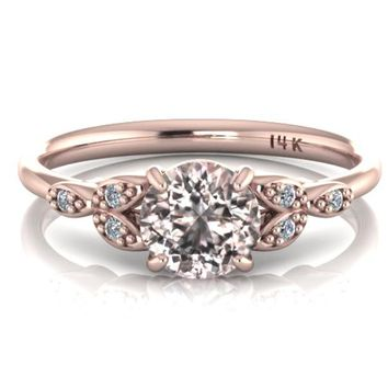 14K Rose Gold Ornate Round Morganite Engagement Ring