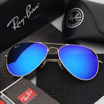 Ray Ban Aviator Sunglass Gold with Blue Gradient Lenses RB 3025 001/51