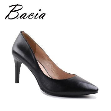Bacia Russion Original Style Sheepskin Pumps Vintage High Heels Black Women Shoes Heel Pointed Toe Genuine Leather Pumps VA007