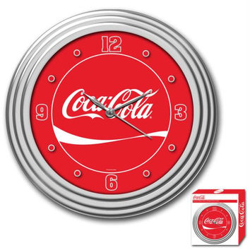 Coca-Cola Coke Clock with Chrome Finish 12 inch diameter
