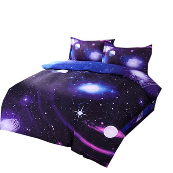 Starry Sky Home Textiles Beding 3D 4 pcs Beding Quilt Cover Flat Sheet Pillow Case x2   07