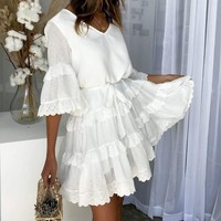 8DESS Elegant embroidery white women dress Flare sleeve ruffle sashes dresses Casual v-neck sexy dress