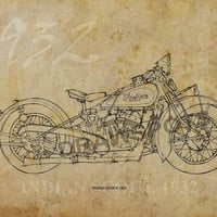 INDIAN SCOUT 1932, Based on my Original Handmade Drawing, Art Print 11.5x16in, year 1932
