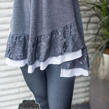 Charcoal Ruffled Tunic