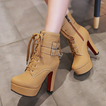 Hot Deal On Sale Winter High Heel Boots [6366200388]