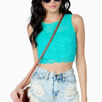 Chiffon Inset Lace Crop Top