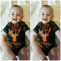 Cute Baby Boy Summer Clothes Camo Short Sleeve Romper Jumsuit Printing I Like Big Racks Outfit One-pieces Suit