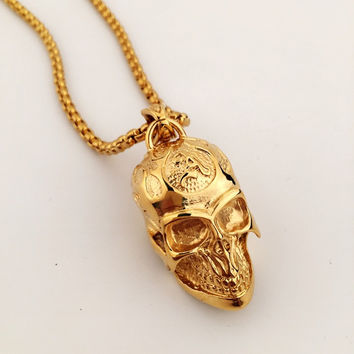 Stylish Jewelry Gift New Arrival Shiny Hip-hop Club Skull Necklace [8979458500]