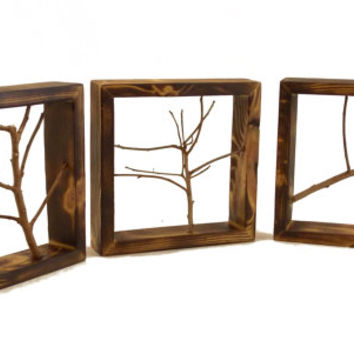 Wall branch small frames, Wood Wall Art