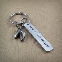 Live in the Moment - Fortune Cookie Keychain