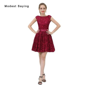 Elegant Drak Red Short Lace Cocktail Dresses 2018 with V Back Girls Mini Homecoming Graduation Prom Gowns vestido de festa curto